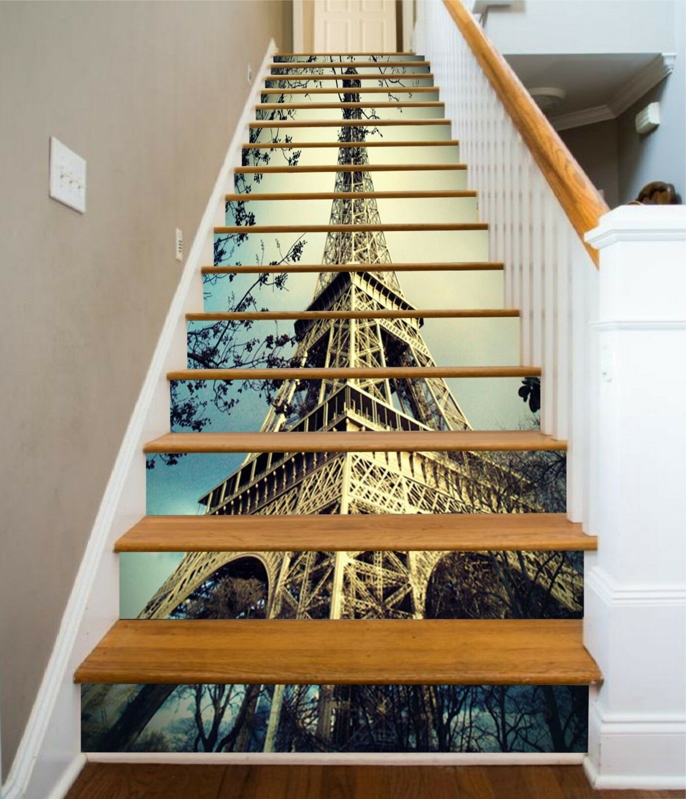 3D Eiffel Tower 7 Stair Risers Decoration Photo Mural Vinyl Decal Wallpaper UK