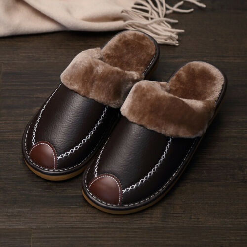US Men Winter Warm Home Shoes House Slipper Leather Indoor Flats Comfy   #
