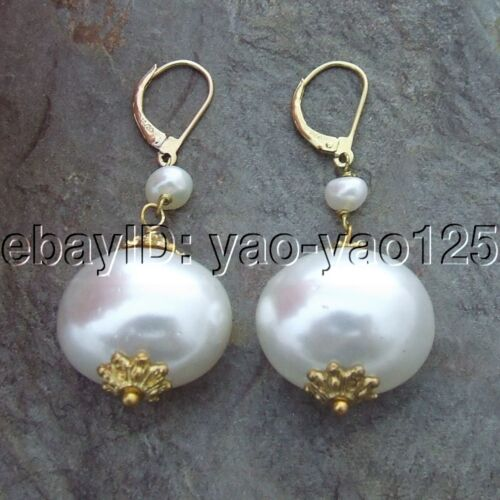 """K050115 2/"""" Blanc coquillage perle boucles d/'oreilles plaqué or levier noir"""