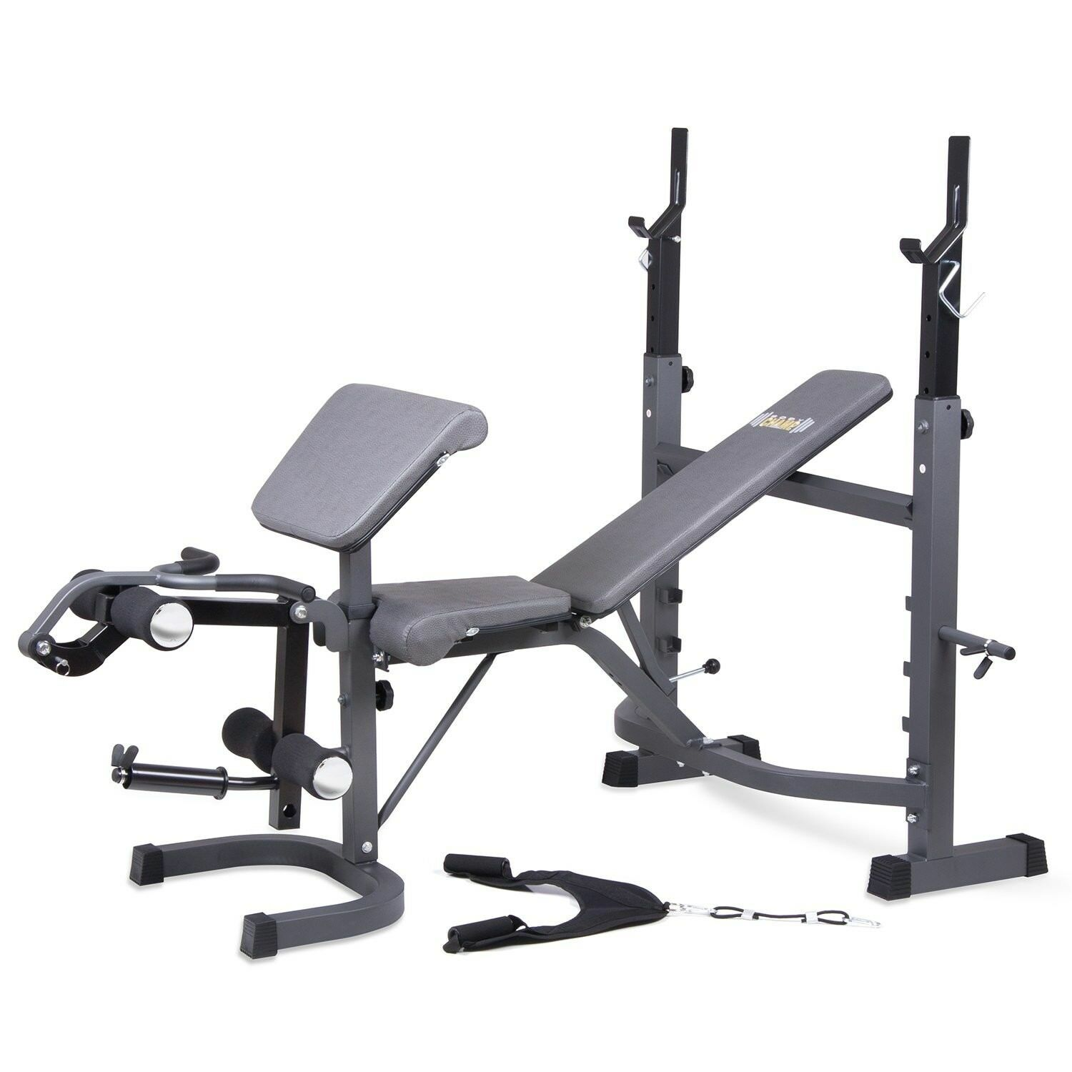 Olympic Weight Bench Set Press Squat Fitness Barbel Workout Lifting Weights Gym