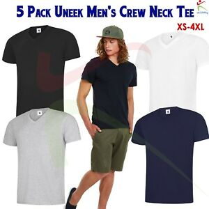 27d959311cbb08 Uneek 5 PACK Mens V NECK Classic T-Shirt Plain 100% Cotton Blank Tee ...