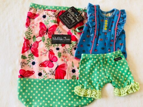 """Matilda Jane Doll Clothes Matches Voyager Top Shorties Bag Fits 18"""" Camp On Tour"""