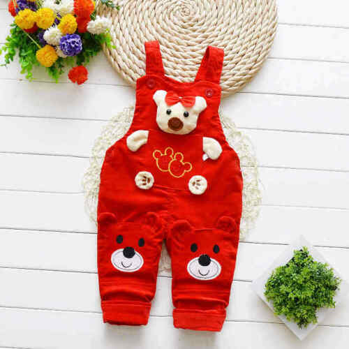Baby pants Boys Girls Jeans Overalls Toddler Kids Cartoon bear Denim Rompers