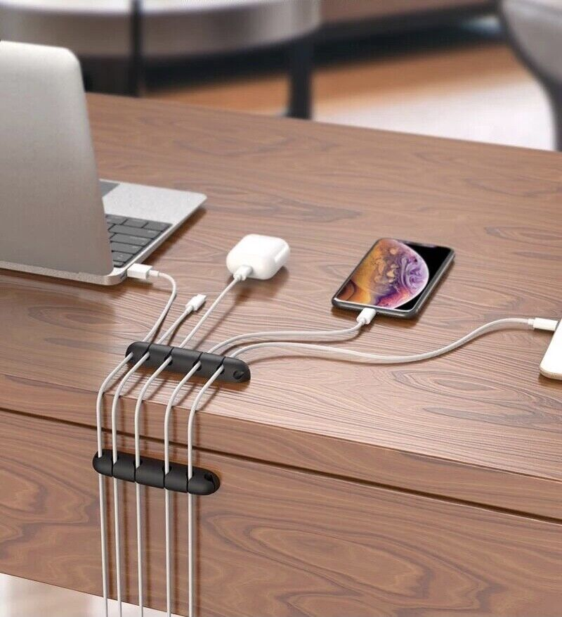 Cable Organiser USB Holder Desk Tidy Car Organizer Wire Lead Holder Charger UK