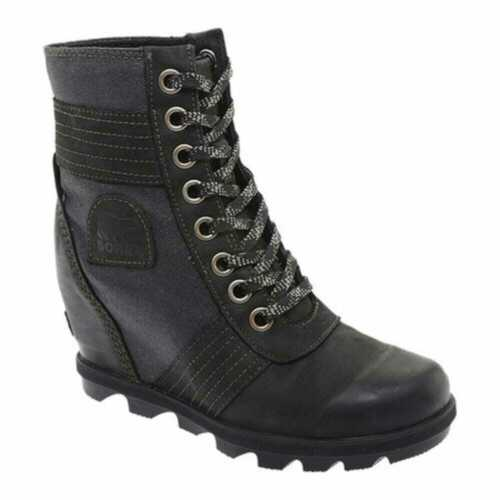 Sorel Lexie Wedge Ankle Boot-Black Leather//Textile