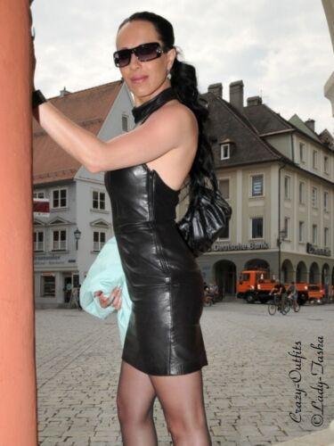jurk op Leren schouder gemaakt Zwart Mini maat maat Leren jurk eCxBord