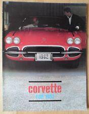 CHEVROLET CORVETTE 1962 Original Sales Brochure Catalogue Prospekt