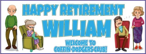 COFFIN DODGER ANY NAME OLD CODGER PLAIN 2 PERSONALISED RETIREMENT BANNERS