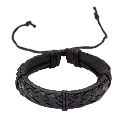 6Pcs Vintage Men Bracelet Multilayer Leather Rope Wax Rope Braided Bracelet MC