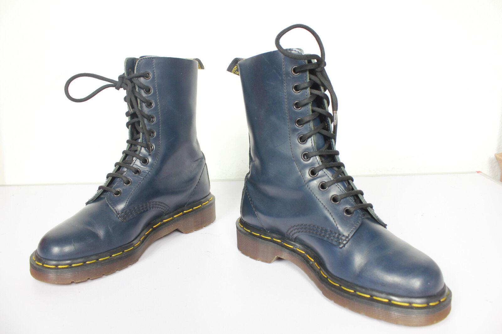 Vintage Dr.Martens 10 10 10 Lochs Stiefel Dunkelblau Eu:36,5-Uk:3,5 made in England--TOP 788c3d
