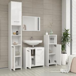Détails sur Ensemble meuble salle de bain - blanc / fronts blanc haute  brillance