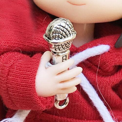 2Pcs 1:12 Doll House BJD Accessories Prop Miniature Metal Microphone