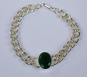 Bracelet-Men-039-s-Fashion-Stainless-Steel-Natural-Emerald-Gemstone-IN-32