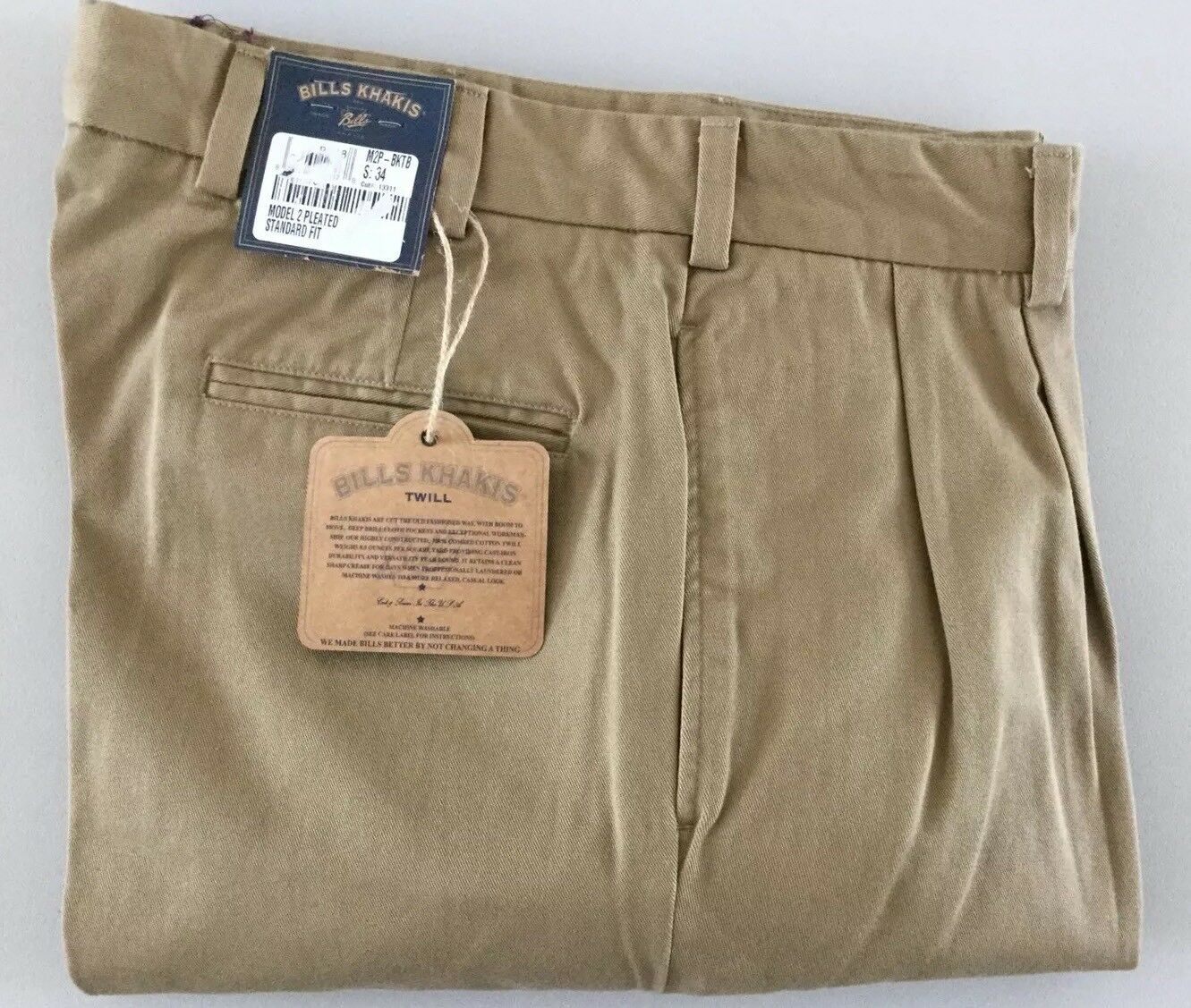BRAND NEW-Bills khakis M2P-OTBK Size 34 TWILL BRITISH KHAKI MSRP