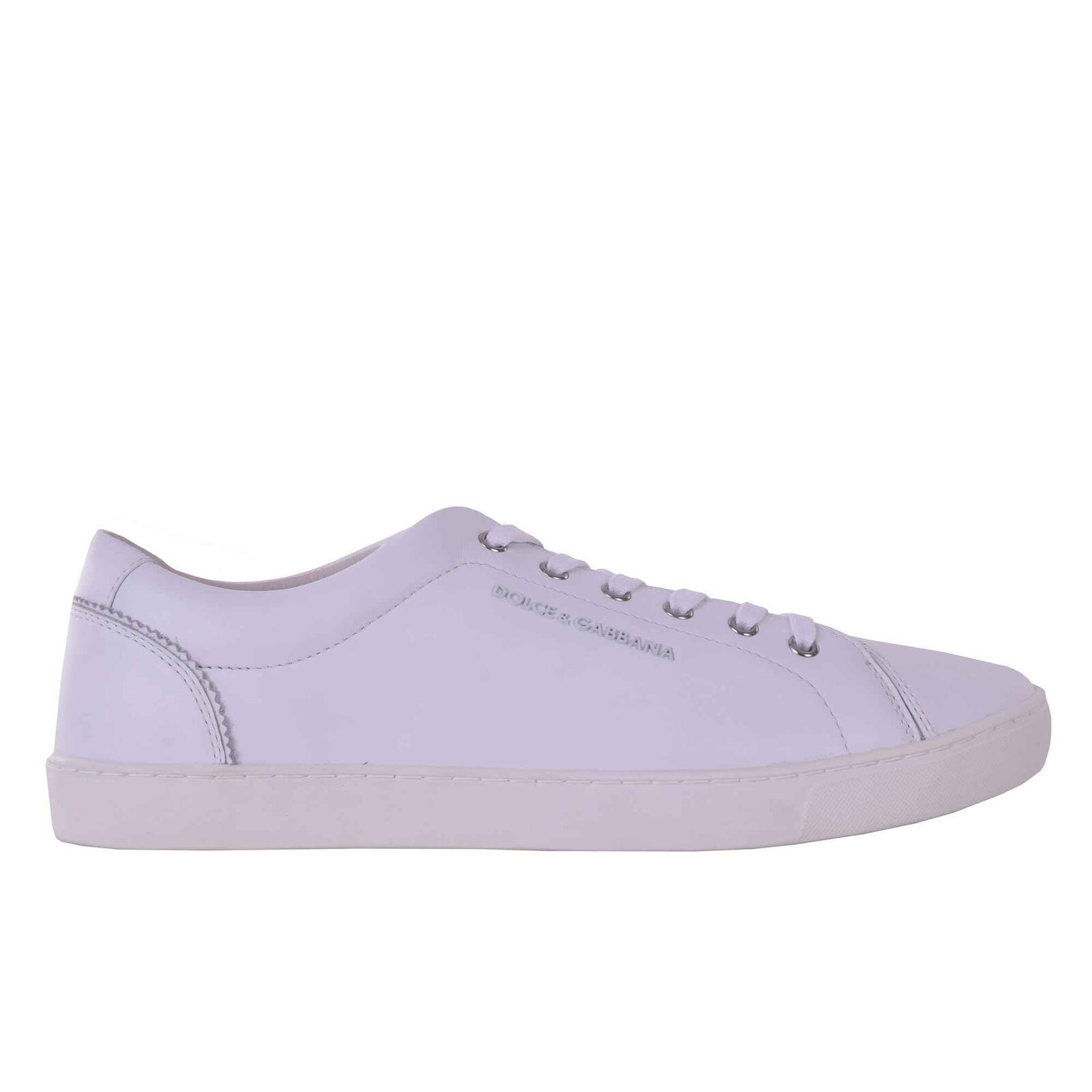 DOLCE & GABBANA Klassische Leder Sneakers Schuhe NEU RU mit Logo Weiss 05934