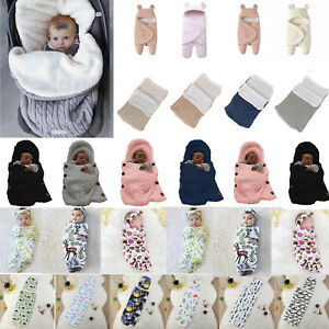 6990f64ea Newborn Baby Hooded Swaddle Wrap Winter Warm Knit Swaddling Blanket ...