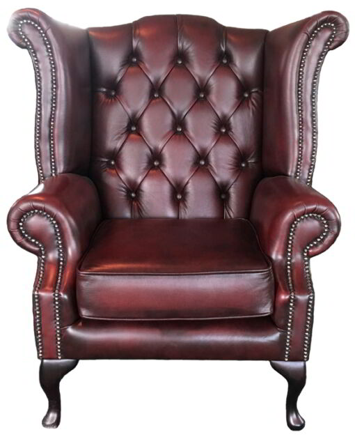 Chesterfield Queen Anne High Back Armchair Genuine Leather Antique Oxblood Red