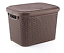 Large-20-Litre-Plastic-Rattan-Storage-Box-with-Lid-Stackable-Basket-Container thumbnail 2