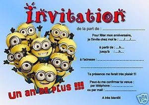 Carte Anniversaire Les Minions.Details Sur 5 Ou 12 Cartes Invitation Anniversaire Les Minions Ref 253