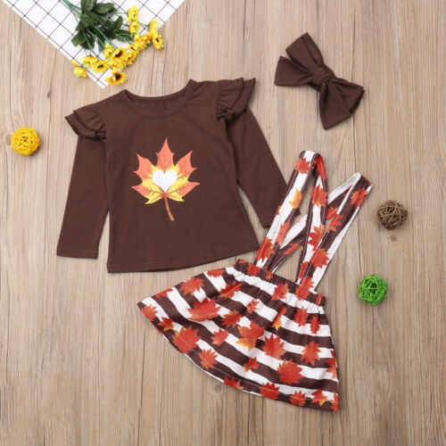 Boutique Kids Baby Girl Thanksgiving Ruffle Tops Stripe Skirt Outfits Clothes