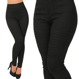 High-Waist-Stretch-Hose-Zier-Naehte-am-Bein-Treggings-Leggings-Roehre-Stoff-Rillen