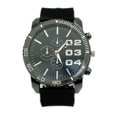 Fashion Men Big Dial Analog Silicone Band Quartz Wristwatch Newest Sport Watch