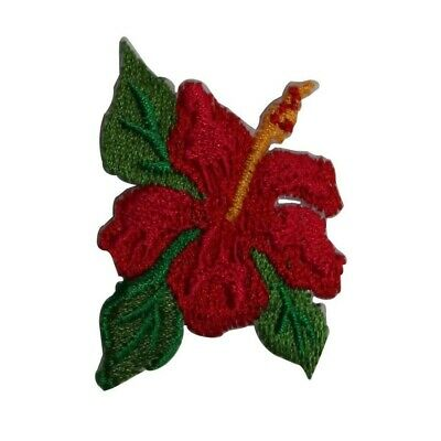 ID 6316 Pink Hibiscus Bloom Patch Flower Tropical Embroidered Iron On Applique
