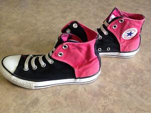 Women s ~CONVERSE All Star Chuck Taylor Hi-Top Black   Pink Shoes ... 6c36353f5d