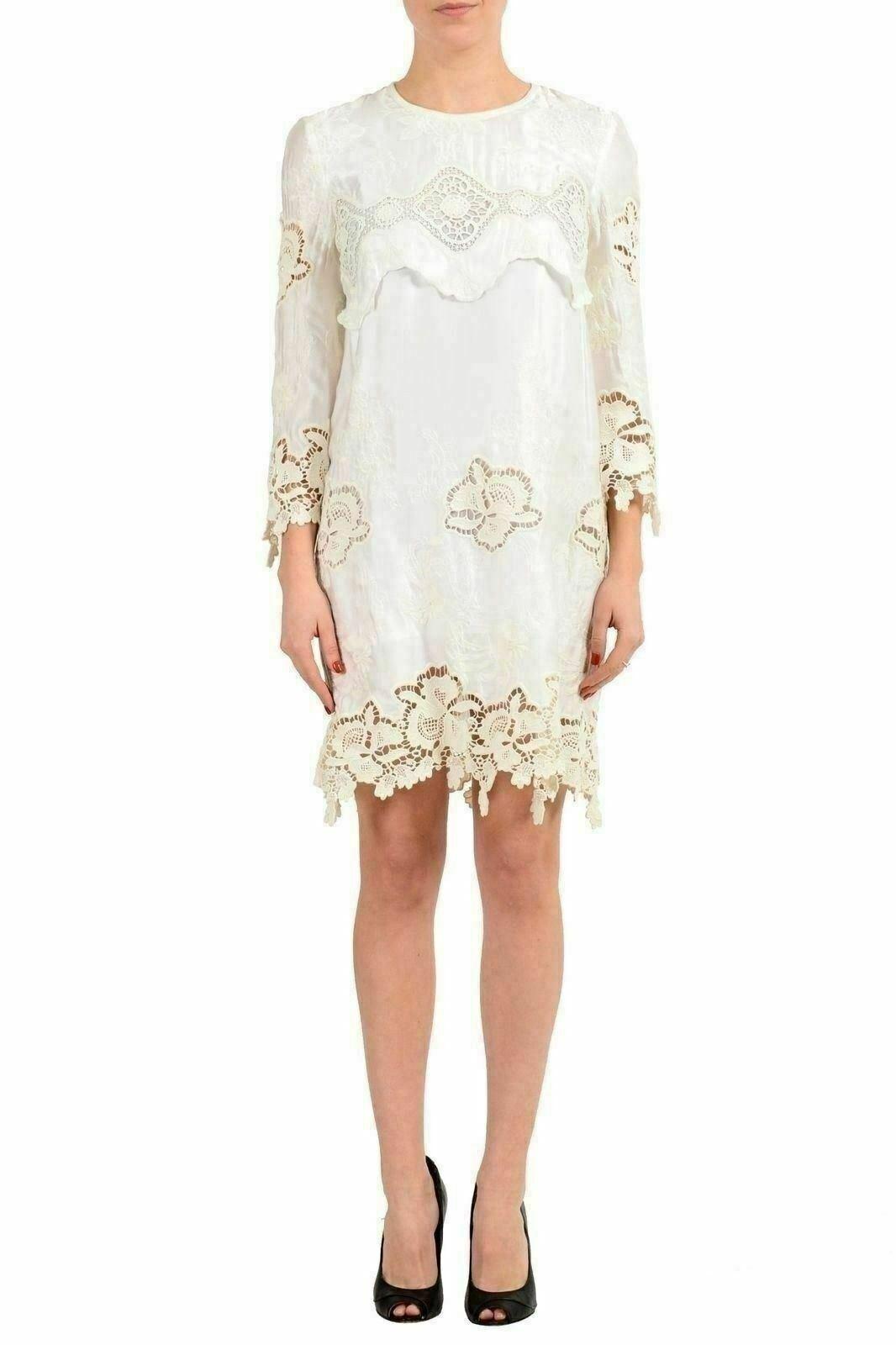 Just Cavalli White 3 4 Sleeve Women's Sheath Dress US S IT 40