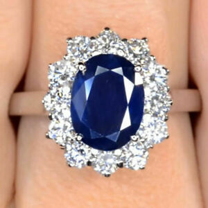 3.22 Carat Kate Middleton Engagement Ring Sapphire 18K Solid White Gold All Size