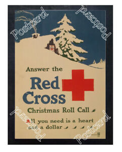 Historic-WWI-Recrutiment-Poster-Red-Cross-Christmas-roll-call-Postcard