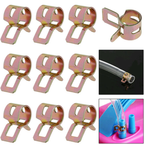 10Pcs 8mm Spring Clip Fuel Line Hose Water Pipe Air Tube Clamps Fastener