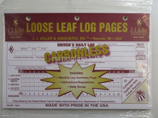 JJ Keller 545mp Loose-leaf Drivers Daily Log Book W/ 7 and 8 Day Recap