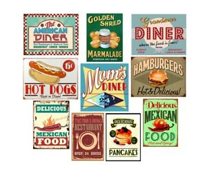 Details About Metal Tin Signs The American Diner Retro Plate Mexican Food Art Wall Decor