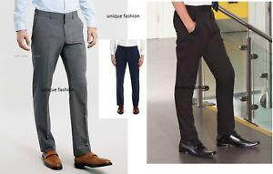 Boys-Mens-Black-Gray-Navy-Slim-Fit-Skinny-School-Trousers-Pants-Age-10-16