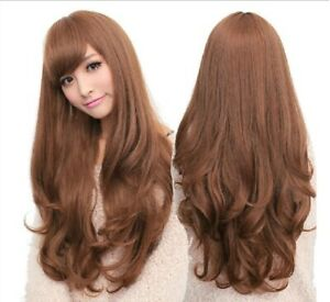 Long Wavy Curly Full Hair Wigs w Side Bangs Cosplay Costume Fancy Anime Womens