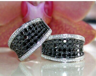 Details about  /2Ct Round Black Diamond Men/'s Cluster Huggie Hoop Earrings 14K Black Gold Finish
