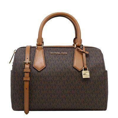 Nwt Michael Kors Hayes Large Duffle Mk Signature Satchel Bag Brown 35h8gyeu3b 192877029663 Ebay