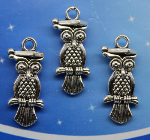 5//20//60pcs retro style Lovely owl alloy charms pendants for DIY 21x9mm