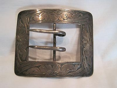 Victorian La Pierre Mfg. Etched Sterling Silver Belt Buckle