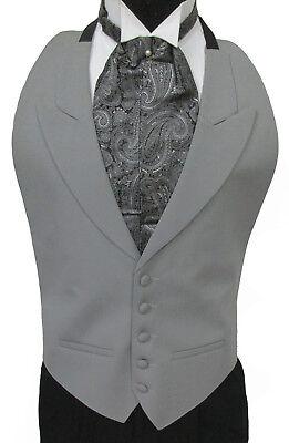 Black 100/% Wool Open Back Tuxedo Vest Choice of Bow Tie or Paisley Ascot//Cravat