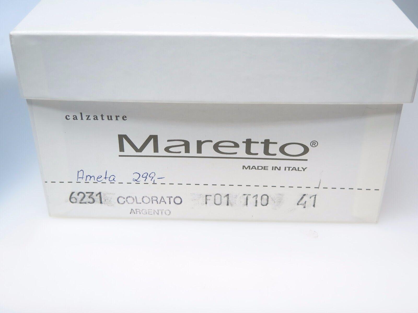 MARETTO Argento  Designer Damenschuhe 6231 Ameta Farbeato Argento MARETTO Leder Gr. 41 NEU 5e7ad6