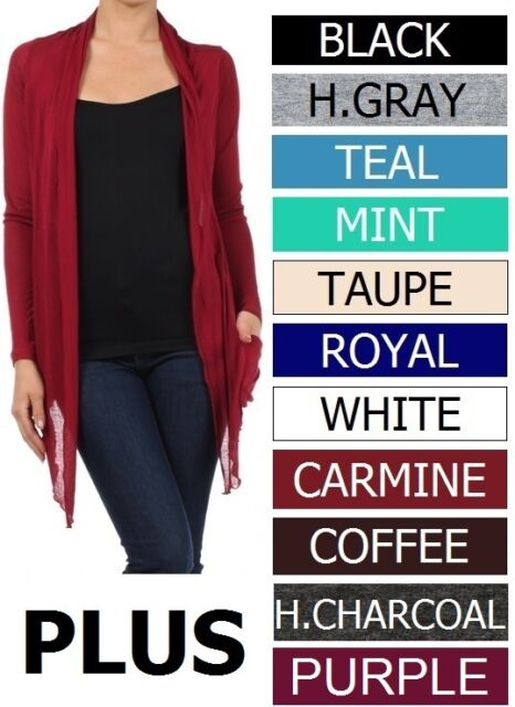 MANY COLORS Sheer Long Sleeves w/ Pockets Plus Cardigan Sizes 1X  2X 3X