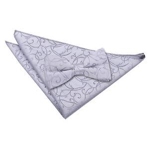 DQT-Tisse-Swirl-motifs-argent-pour-homme-Pre-Tied-Bow-tie-hanky-Mariage-Set
