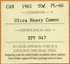 ICCS-PL-66-PL66-1961-Canada-Silver-Proof-Like-50-Cents-ULTRA-Heavy-Cameo-UHC