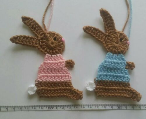 Large crochet bunny rabbit applique for card making// blanket boy or girl