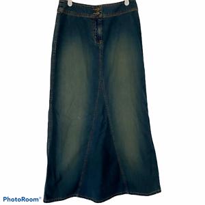 New-York-amp-Co-Long-Denim-Jean-Skirt-Sz-2-No-Slit-Modest-Church-Teacher-NY-Jeans