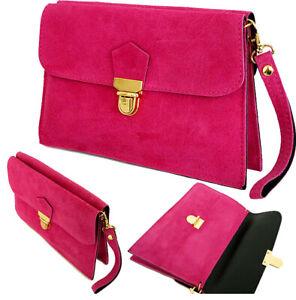 Ladies Real Leather Envelope Clutch Evening Bags Womens Suede Shoulder HandBags