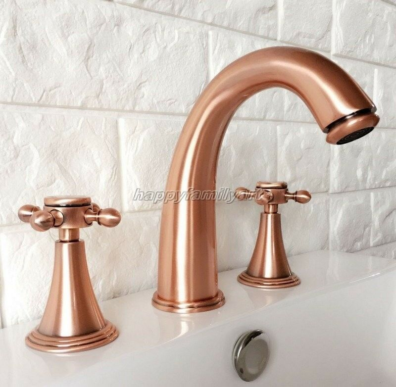 Antique rouge Copper Widespread 3 Holes Bathroom Lavatory Faucet Mixer Tap yrg038