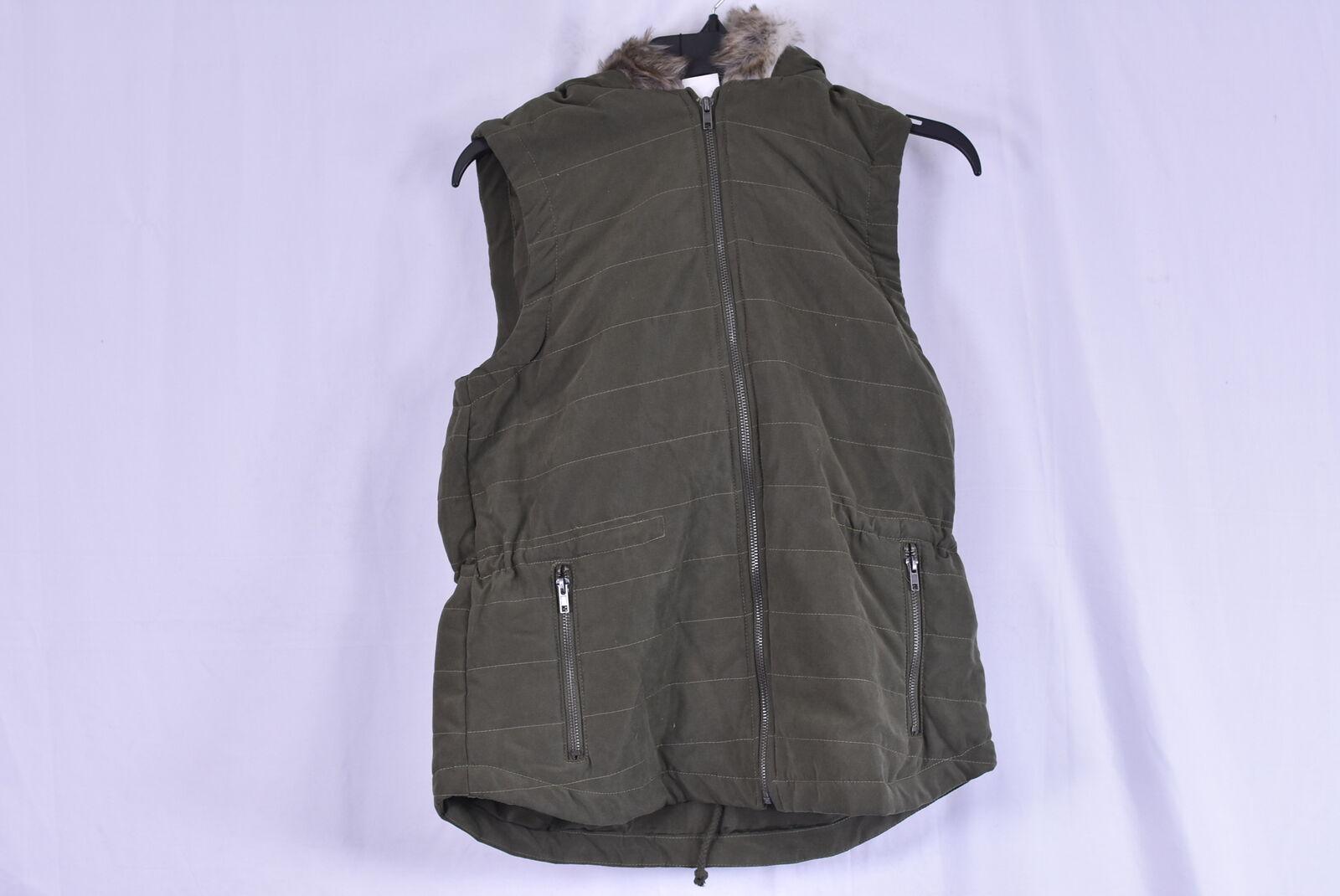 Women's Jack By BB Dakota Hey Ya Vest w/ Faux Fur Lined Hood, Olive Green